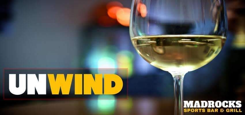 Seen here is a picture of vino chardonay wine at a Derby KS restaurant—Madrocks Sports Bar and Grill