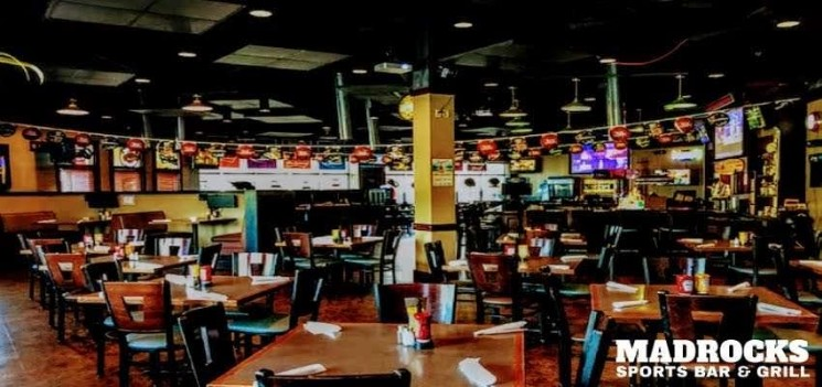 Seen here is a picture of the interior at a Derby KS restaurant—Madrocks Sports Bar and Grill